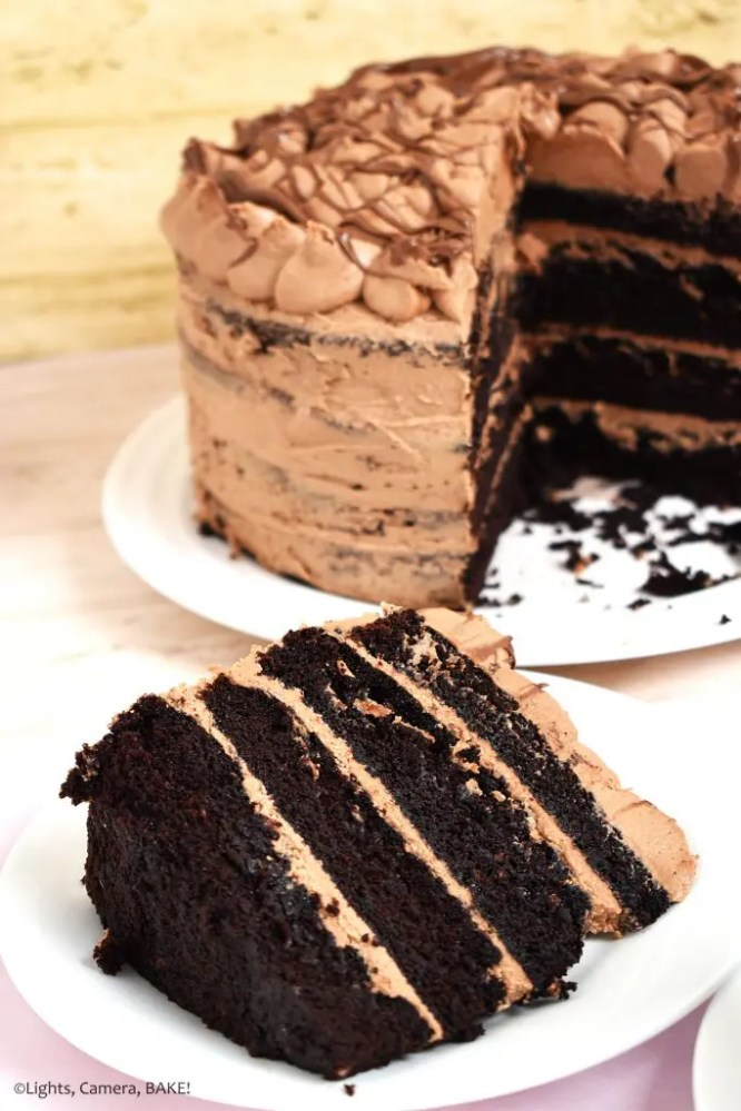 Nutella Chocolate Cake is a dense and fluffy chocolate mud cake with a creamy Nutella Buttercream filling and topping and finished with Nutella drizzled overtop. #nutellacake #nutellachocolatecake #chocolatecake #bestchocolatecake #nutellalayercake