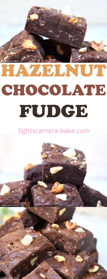 Chocolate Hazelnut Fudge is a simple fudge recipe using chocolate, hazelnuts, sweetened condensed milk and of course a Nutella swirl because we're all about Nutella here! #nutellafudge #hazelnutchocolate #chocolatefudge #condensedmilkfudge