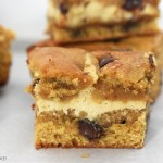 Close up of caramel cheesecake filled cookie bars with a white background.