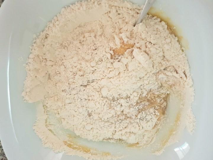 Flour in a bowl.