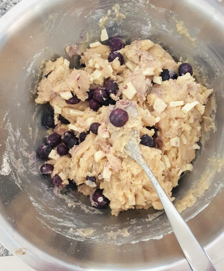 White chocolate and blueberry loaf dough.