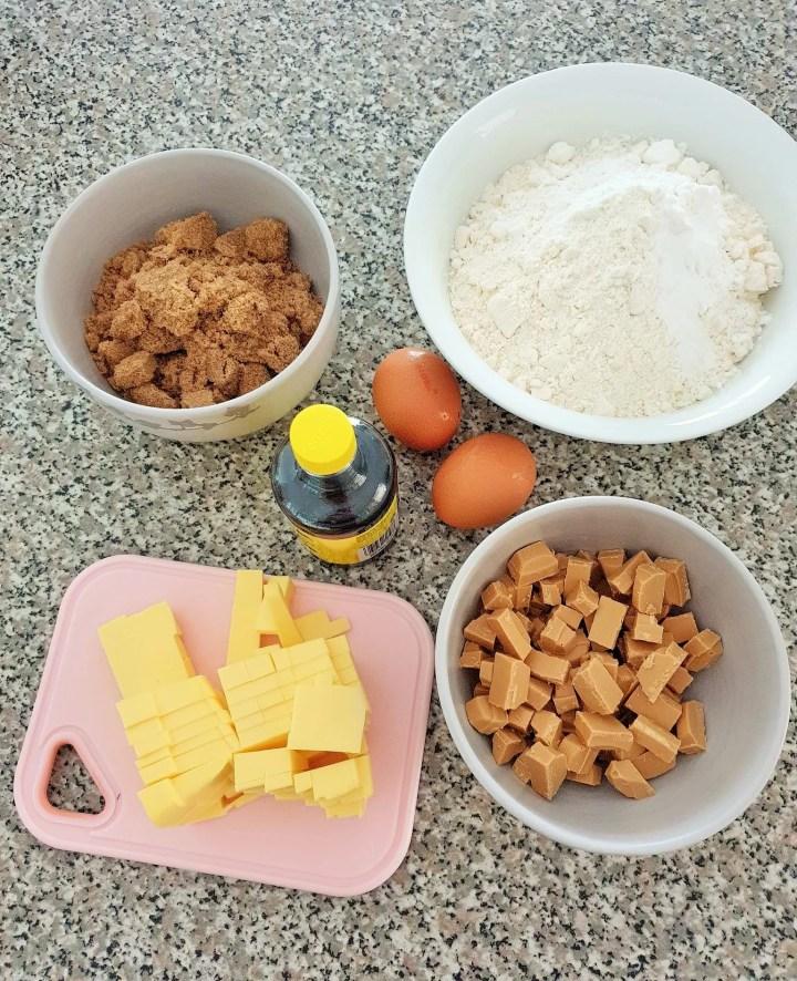 Cookie dough ingredients.