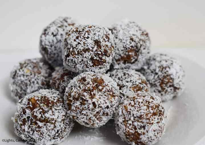 Coconut covered maple almond energy bites.