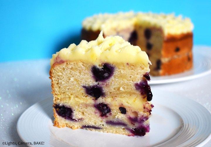Slice of blueberry lemon cake on a plate.