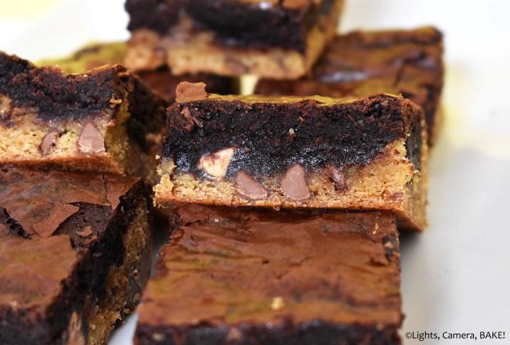 Caramilk chocolate brownie slice on a plate.