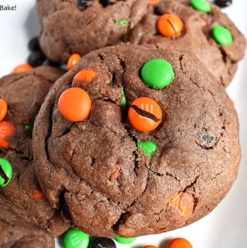 Halloween M&M chocolate cookies