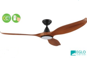 "Teak and Black Eglo Noosa 60"" 3 Blade DC Indoor/Outdoor Ceiling Fan With 18W CCT Dimmable LED Light"