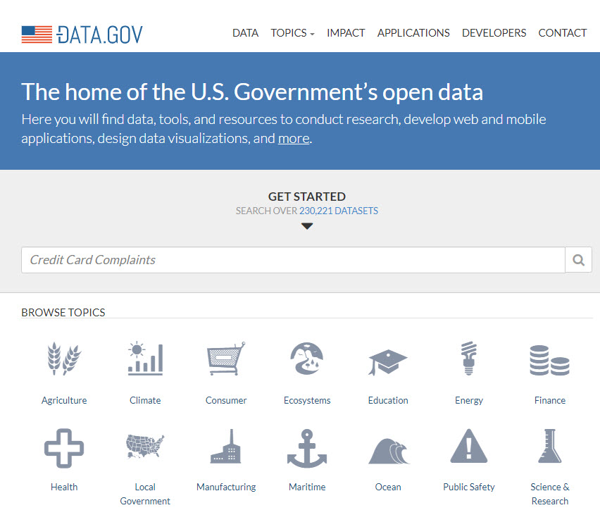 data catalog example government brief