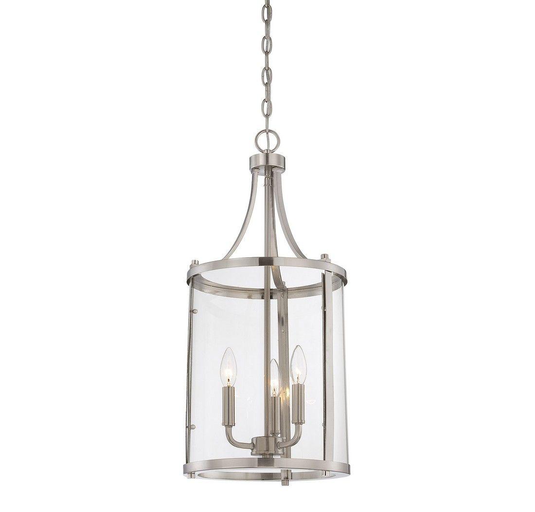 Savoy House Penrose 3 Light Foyer Lantern In Satin Nickel