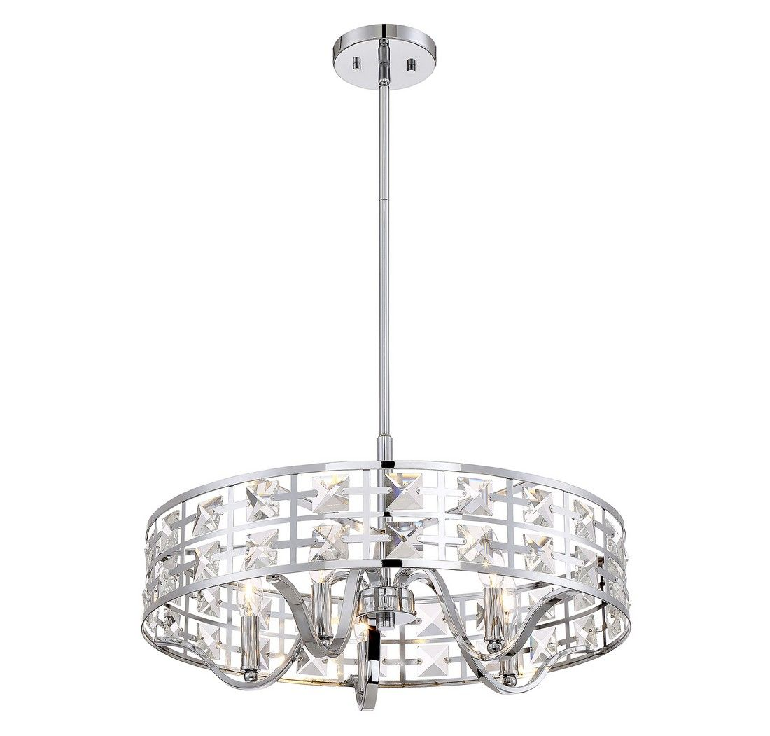 Trade Winds Lighting Crystal Drum 5 Light Pendant In