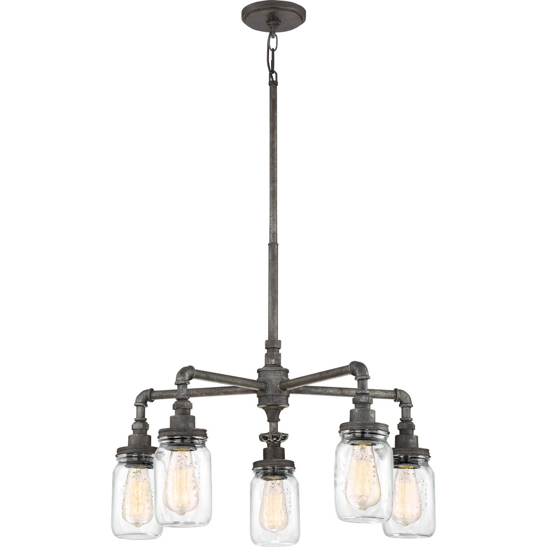 Quoizel Squire 26 5 Light Clear Glass Chandelier In