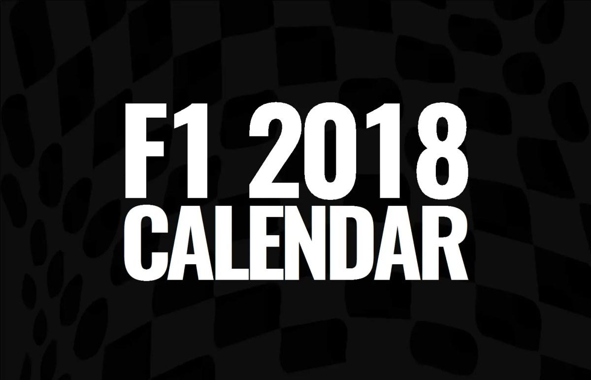 2018 F1 Calendar
