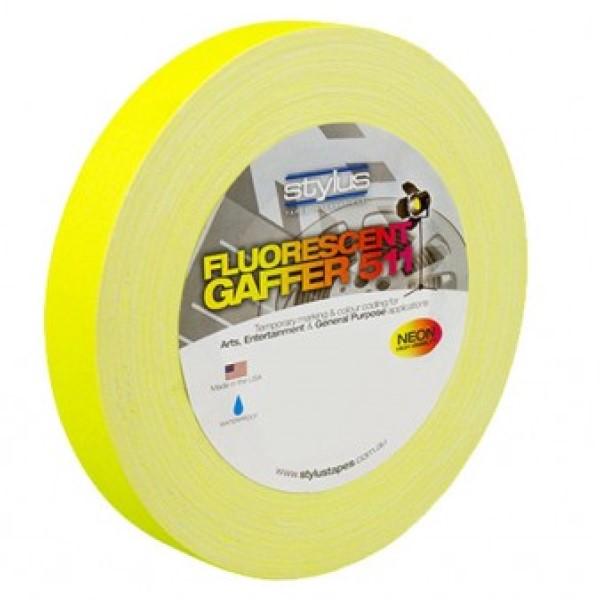 Stylus 511 Fluorescent Yellow Gaffer Tape 24mm x 45 Metres