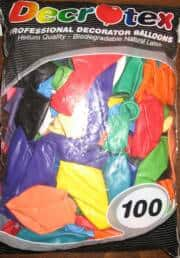 Orrtex  100 Latex Balloons - Standard Mixed Colours