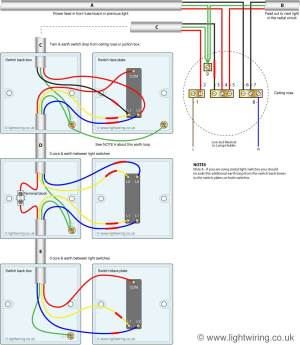 Staircase wiring  two switches, two lights | Screwfix
