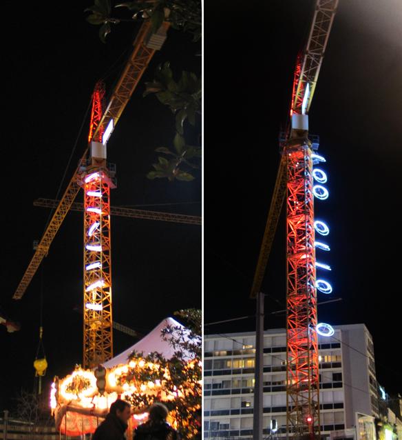 Grue chantier Eiffage, Grand Carré Jaude, Clermont-Ferrand - Conception lumière : Sylvie Sieg