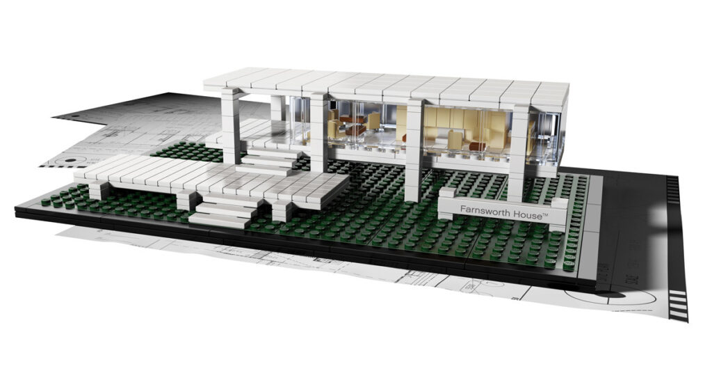 Maquette de la Farnsworth House de Ludwig Mies van der Rohe à Plano, Kendall County, Illinois, États-Unis - Artiste : Adam Reed Tucker - Collection : LEGO Architecture