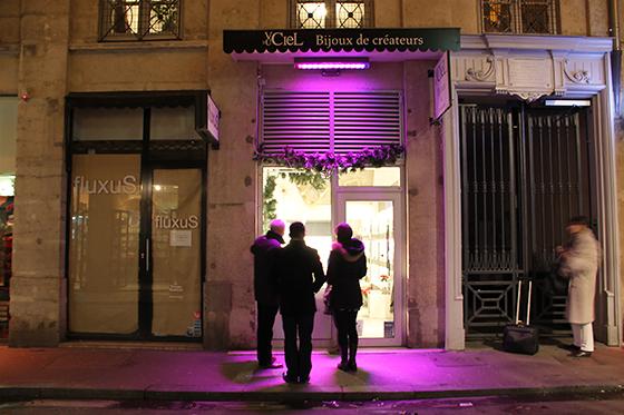 Inauguration 4 décembre 2013 du démonstrateur d'éclairage de commerce, rue ancienne Préfecture, Lyon, France © Vincent Laganier