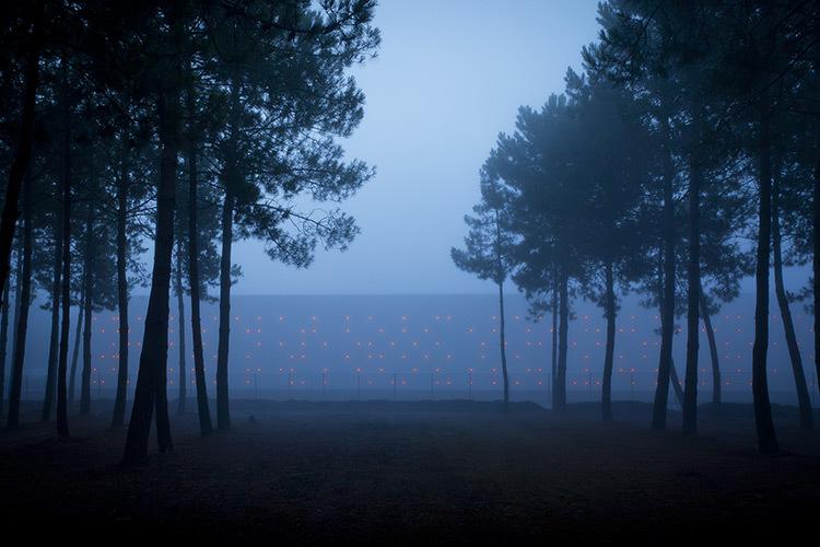 Chai LCB Logistique - matin brumeux en forêt - Architectes Baggio-Piechaud - Conception lumière Yon Anton-Olano - Photo A. Pequin