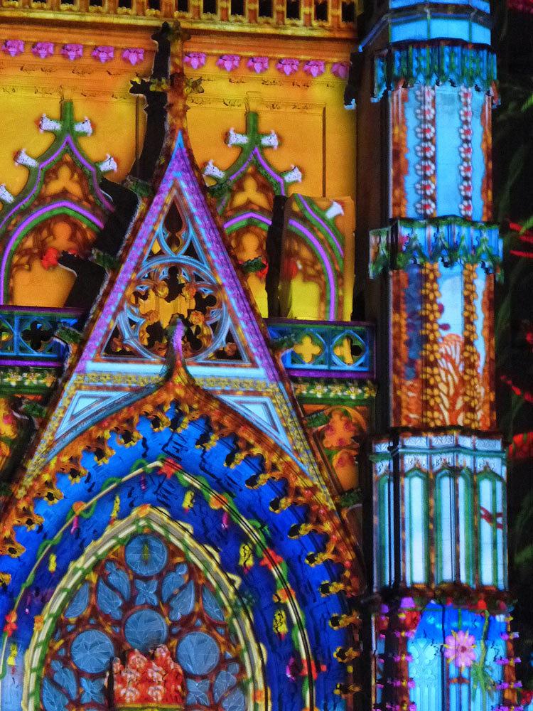 Son et lumière - Illumi Nantes - Façade de la Cathédrale - Peinture Yann Thomas