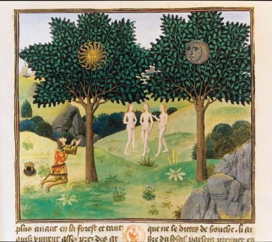 Les arbres du Soleil et de la Lune – Chroniques d'Alexandre – Bruges, 1448-1449 – Jean Wauquelin (Paris, BNF, Manuscrits, français 9342, f. 164)