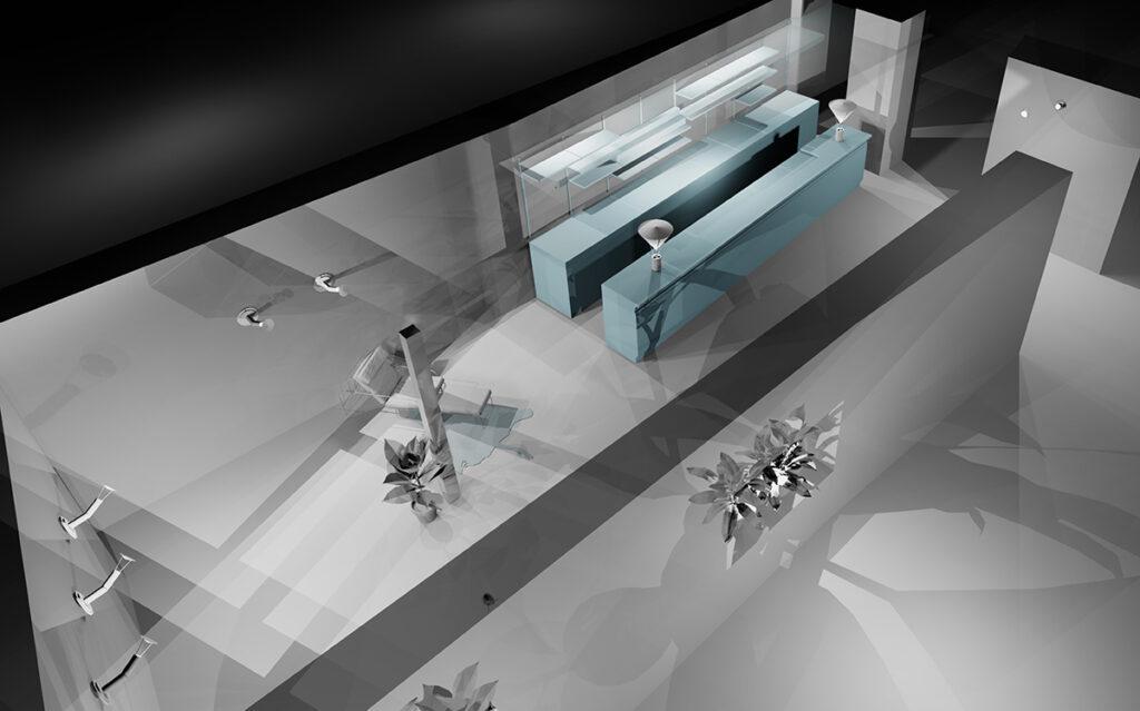Caf K, Nantes, France - Volumétrie 3D lumière, vue latérale - Design et axonométrie : RICH