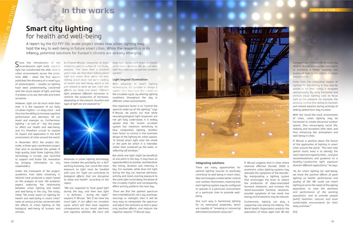 """""""Eclairage de la ville intelligente pour la santé et le bien-être"""" - Cities & Lighting, LUCI network magazine, n°3, Avril 2015"""