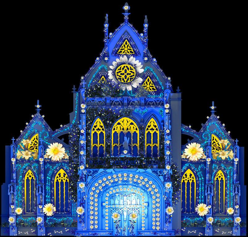 Simulation en infographie, Spectacle Couleurs d'amour ! Monastère royal de Brou - Image : Etienne Guiol, Studio-BK