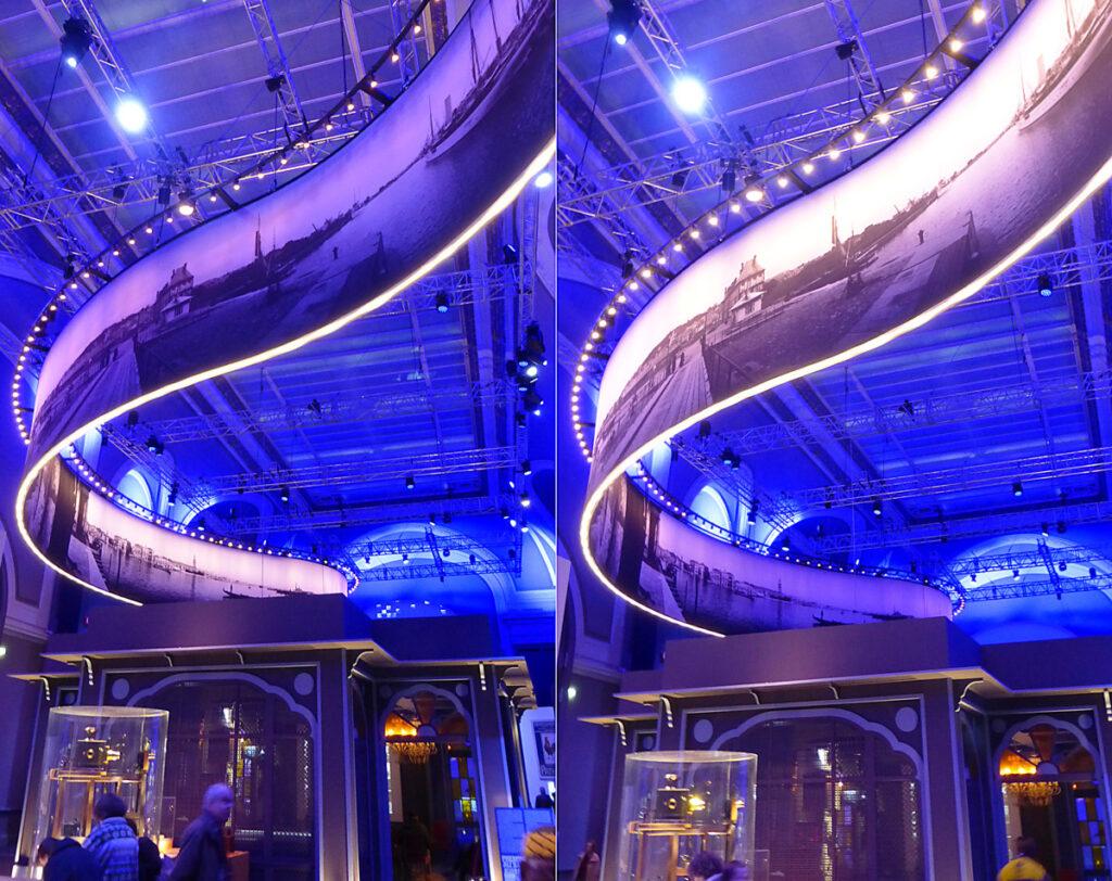 Lumière ! Le cinéma inventé - Salon d'honneur, Grand Palais, Paris - Ruban Photorama Lumière suspendu - Scénographie : Agence NC - Photo : Vincent Laganier