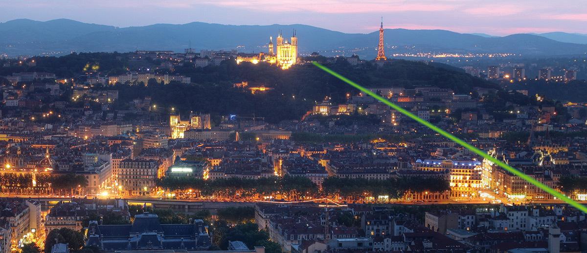 Tir Laser de la colline de Fourvière, Lyon, France