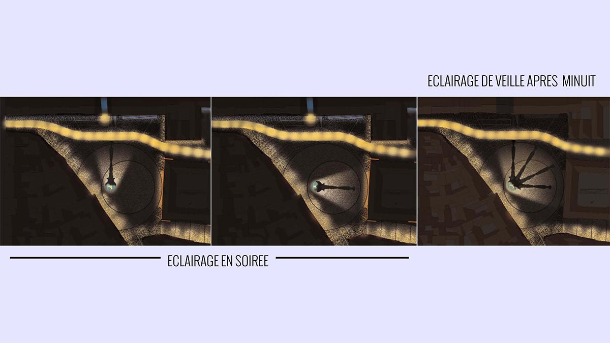 Scénographie de la place de la Révolution à Besançon - Conception lumière : Stéphane Servant, Atelier S² - Image : Stéphane Servant / IXO