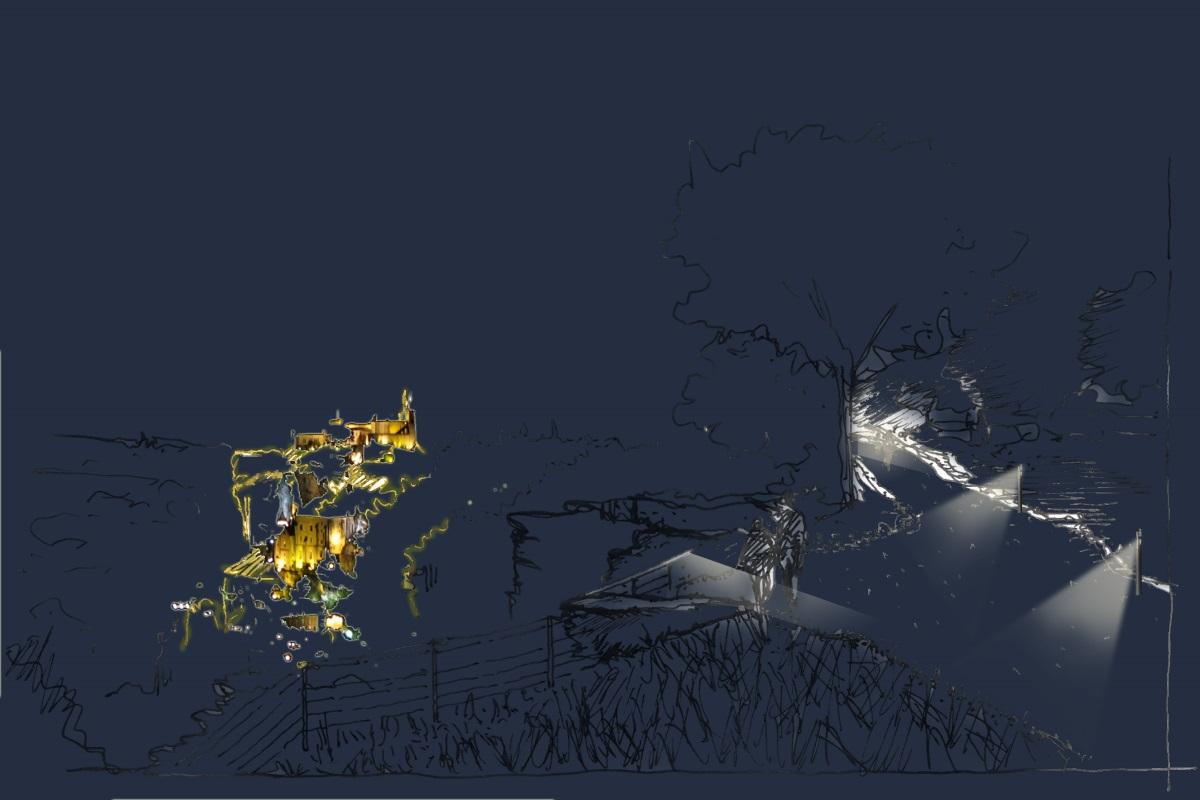 Corniche de Rocamadour - Perspective - Conception lumière : Sara Castagné, LIMINOcité