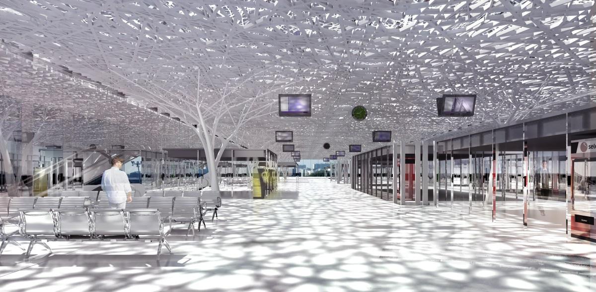 Gare de Nantes - Intérieur de la mezzanine - Architectes : Rudy Ricciotti et Forma6 - Image : Ricciotti / Forma6 / Demathieu et Bard