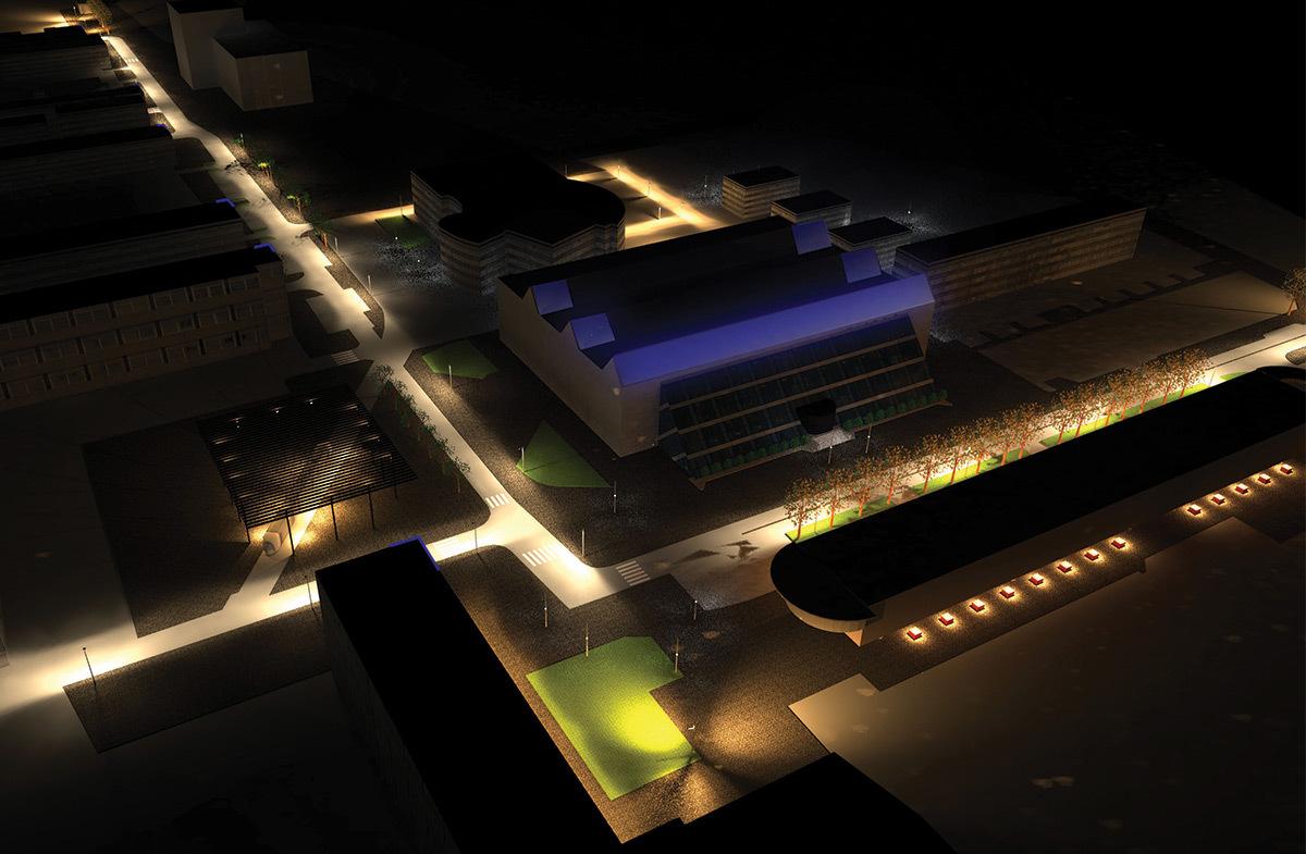 Au cœur du campus autour du Double-Mixte, la Doua, Villeurbanne - Simulation DIALux evo du projet, de la terre a la mer - Ms Eclairage Urbain 2015 - INSA de Lyon © Cyril Cahard, Christophe Tang