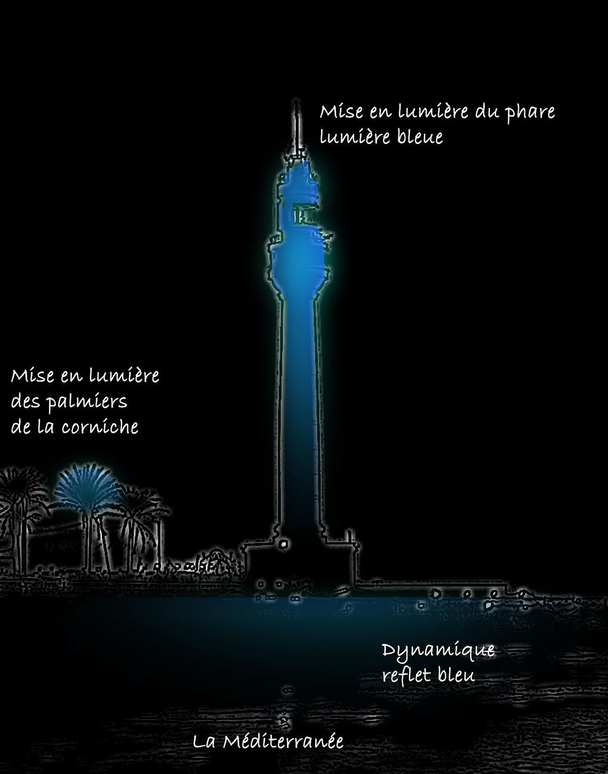 Nouvelles ambiances lumineuses de Beyrouth, le phare en lumière bleue