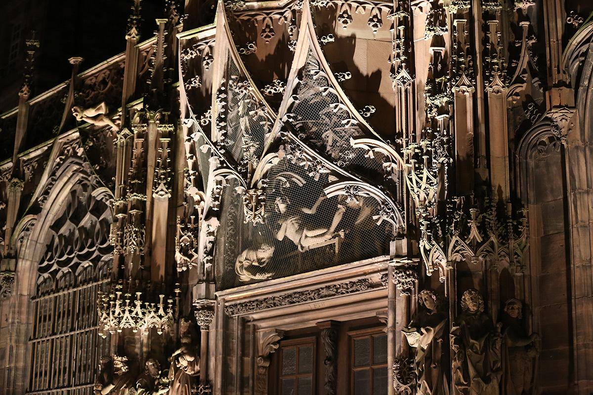 Portail Saint-Laurent, Cathédrale de Strasbourg, France - test et essai d'éclairage avec L'Acte Lumière et Citeos - 10 février 2016 - Photo : Vincent Laganier