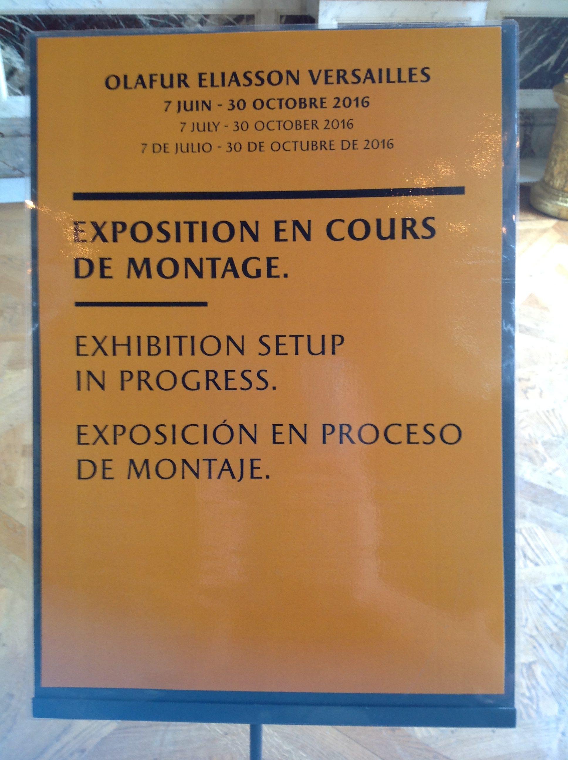 Olafur Eliasson à Versailles : J-3 avant l'ouverture - Photo : Vincent Laganier