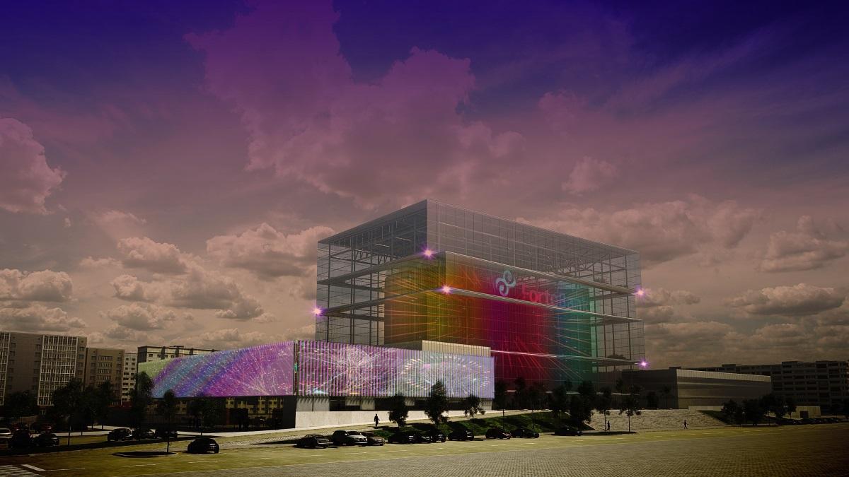 ForteBank, Astana, Kazakhstan - Simulation de l'ensemble - Conception lumière et image : Alexandre Kolinka