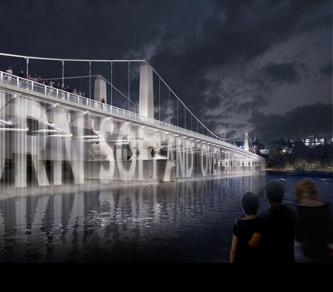 Ecran d'eau avec des contenus projetées - Chelsea Bridge, London, UK © MRC and Diller Scofidio + Renfro