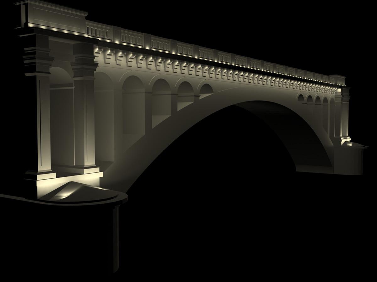 Simulation lumière pseudo réaliste - Pont Wilson, Lyon, France © LEA