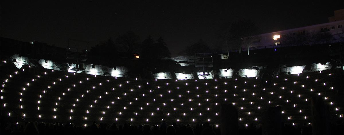 Incandescens, Théâtre Gallo-Romain de Fourvière - Jérôme Donna et Simon Milleret-Godet, DEP, Ville de Lyon - Fête des lumières 2016, Lyon, France - Photo : Vincent Laganier