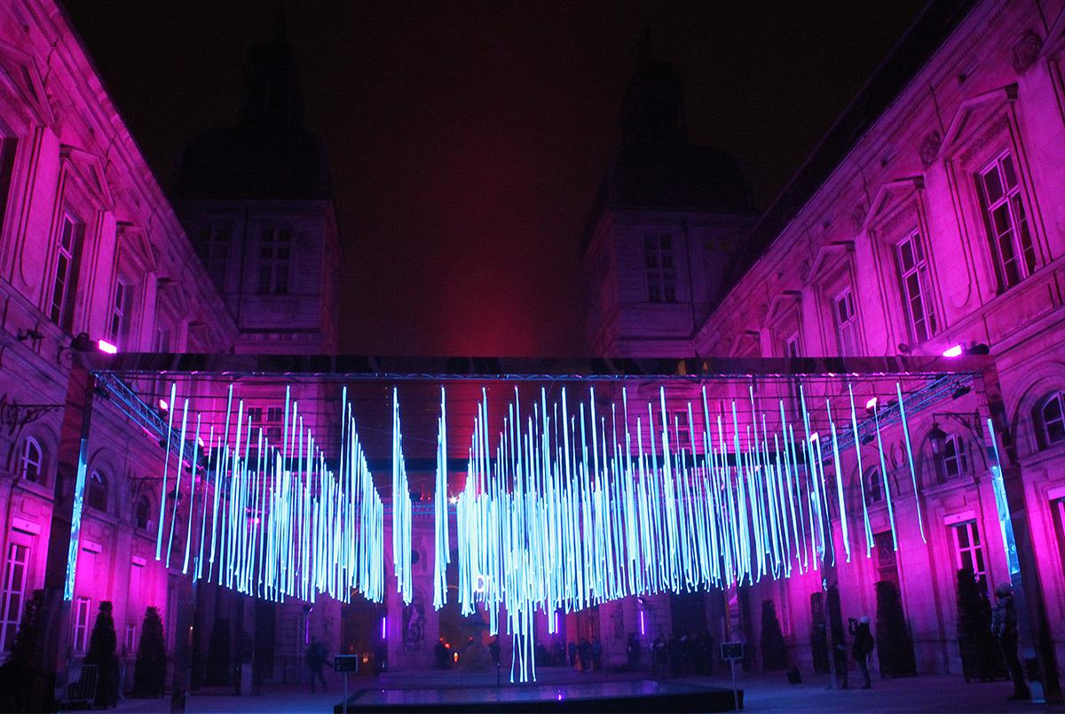 Platonium, Hôtel de Ville, Lyon, France - Eric Michel, Lisa-Akari-Ishii - Fête des lumières 2016, Lyon, France - Photo : Vincent Laganier