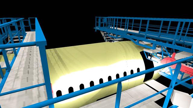 Hall d-assemblage Airbus A320 à Toulouse - Simulation d'éclairage par le logiciel PHANIE © CSTB