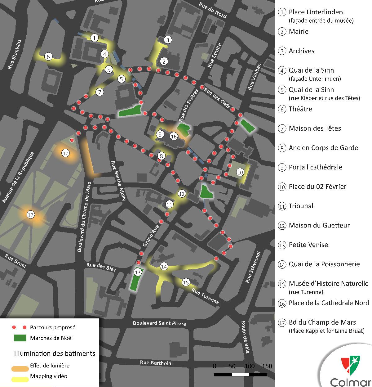 Carte du plan d'animation lumière, Colmar, France - Concepteur lumière : Vialis