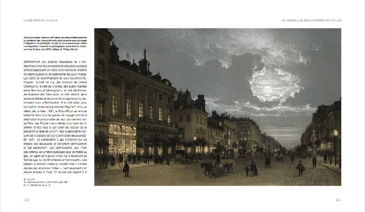 Lumières sur la ville, une histoire de l'éclairage urbain, de Agnès Bovet-Pavy - page Boulevard des Italiens, Paris, 1855