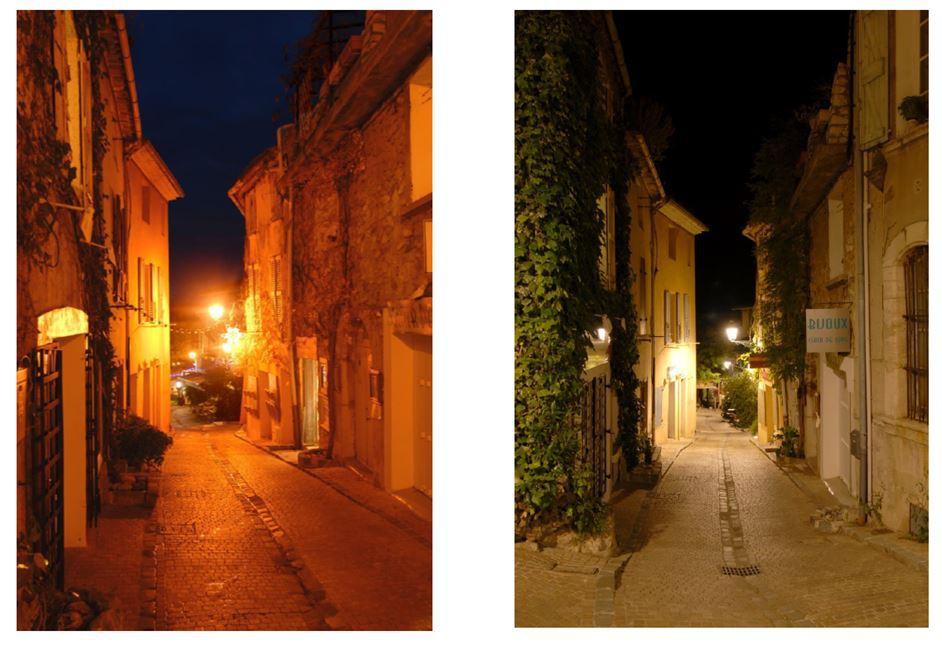 Changement de température de couleur dans une rue, Le Castellet, France © Maître d'ouvrage : Symielec Var