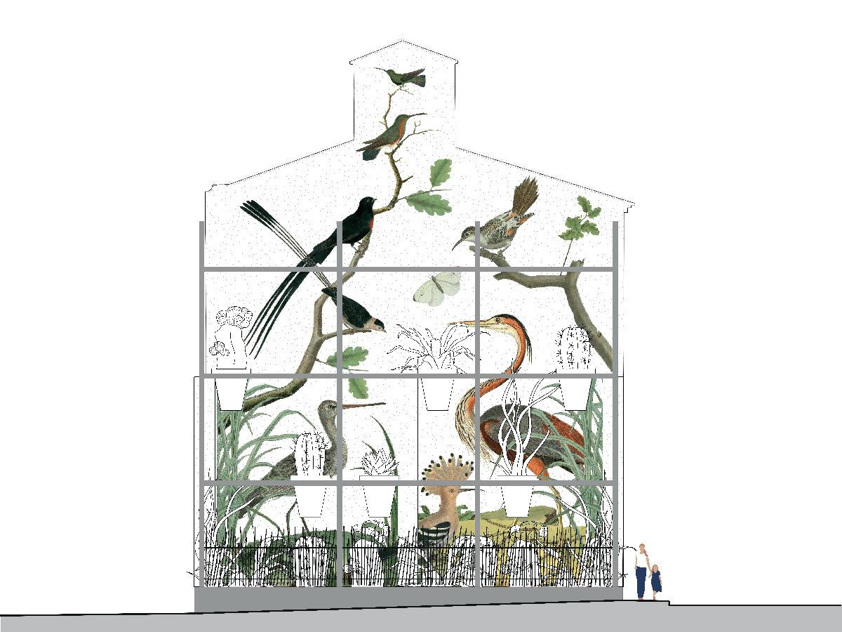 Élévation pignon des curiosités, place Louis Rey, Lunel, France - Architecte urbaniste : Lebunetel + Associes - Graphiste : Eric Pol Simon © Lebunetel + Associes