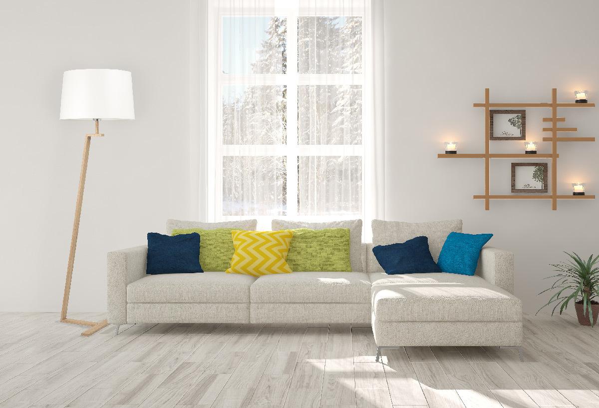 Memphis LS, lampadaire, tissu, bois contrecollé et acier en situation © Aluminor
