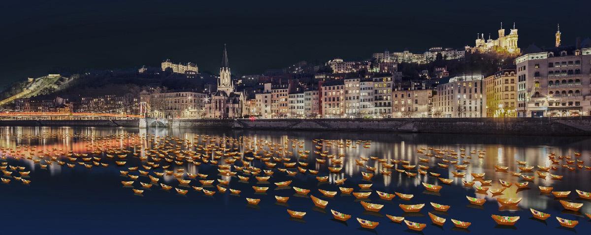 Poiesis, simulation 2019, Riviere de lumiere, Lyon © Agence Avec, Art Entreprise et Entropy - Fête des Lumières 2019 - Ville de Lyon