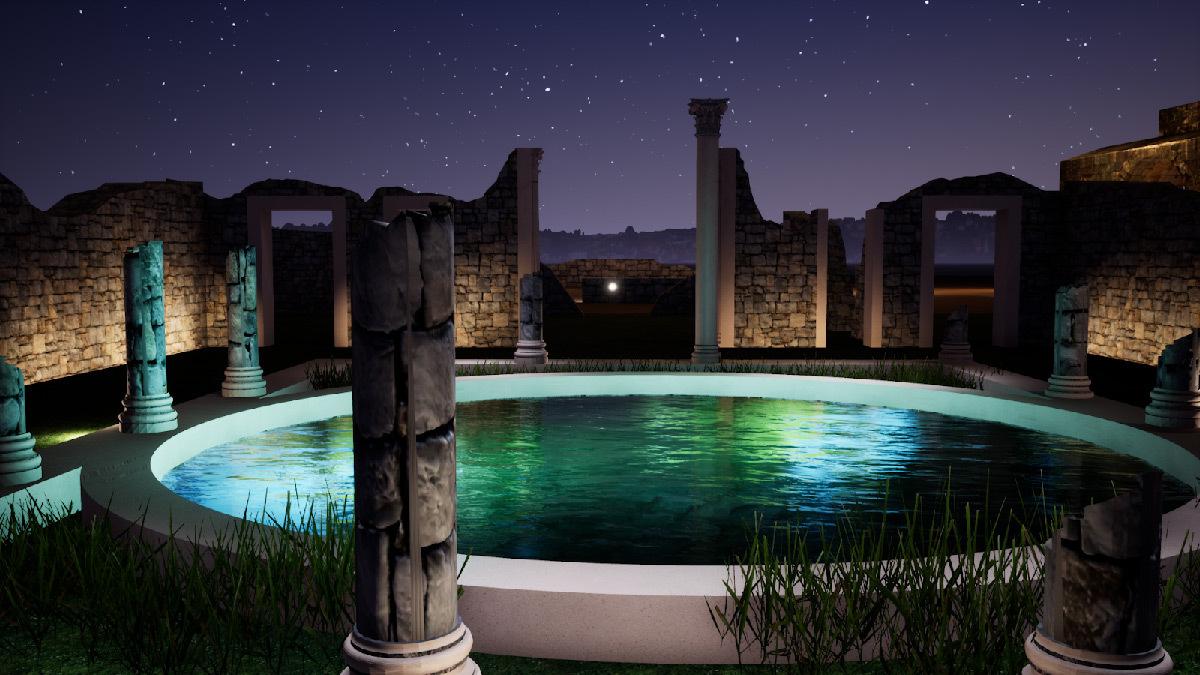 Simulation lumière, maison des colonnes, Volubilis, Maroc - Tifawine Light Contest, Illuminate, équipe 6 © Boutkida Hanane et Yazid Ben Chikh